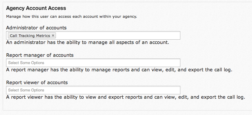 users for call tracking metrics agency