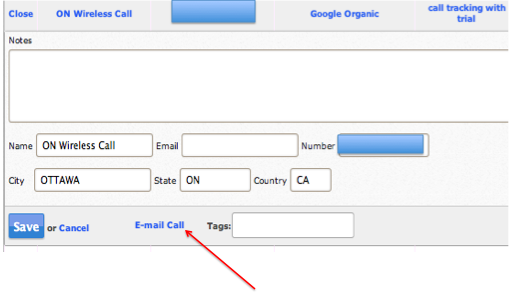 call tracking metrics- email a call feature