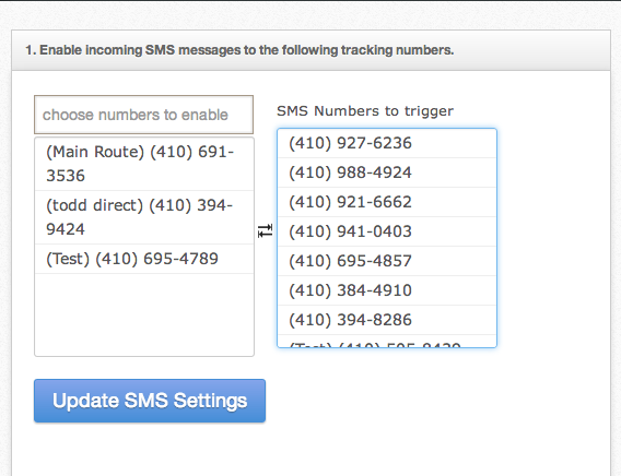 Enable SMS On Your Tracking Numbers