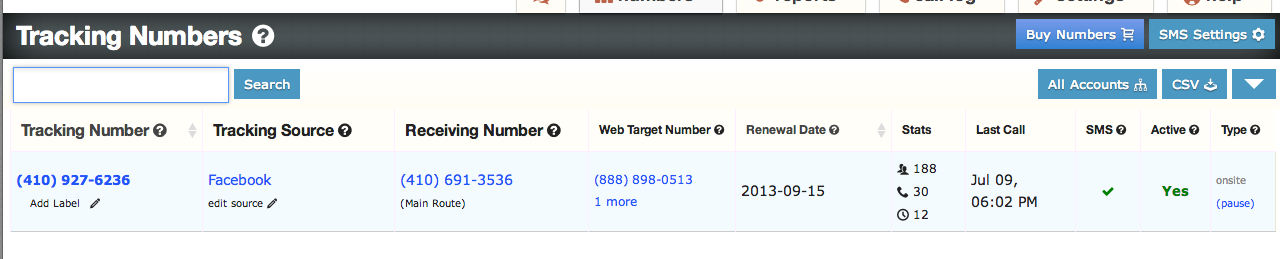New column added to the tracking numbers page that allows you to change the target number.