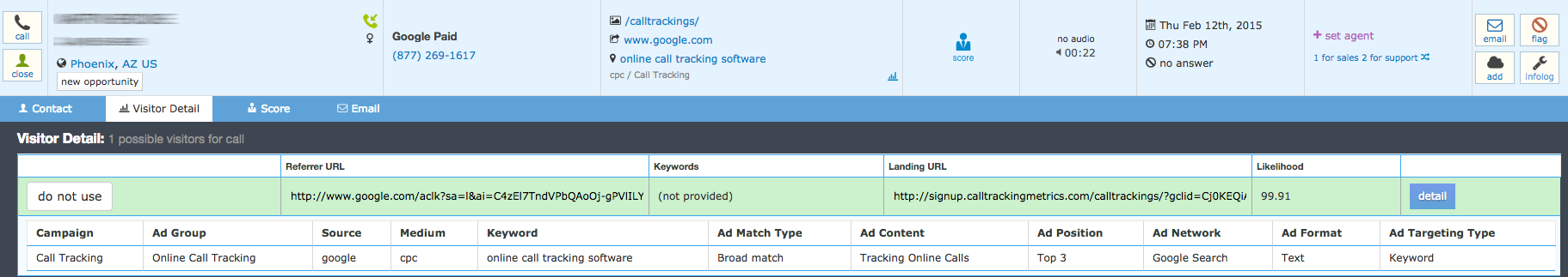 Graphic of Adwords campaign information in CallTrackingMetrics call log