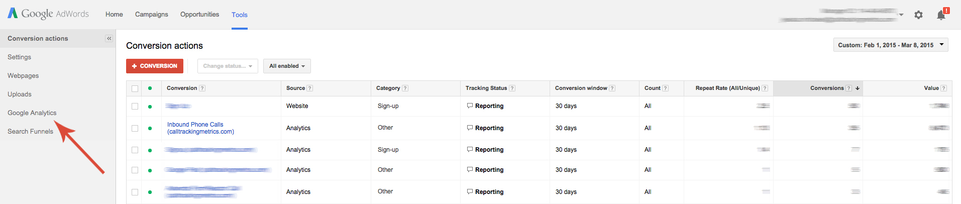 Graphic of how to import Analytic goals in Adwords