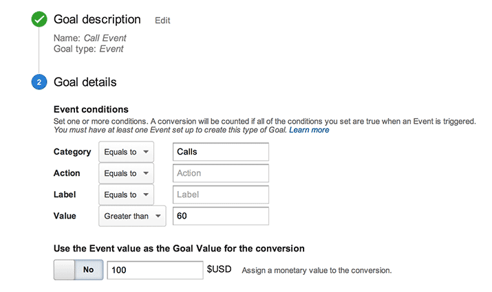 Image of what the event goal set looks like in Google Analytics