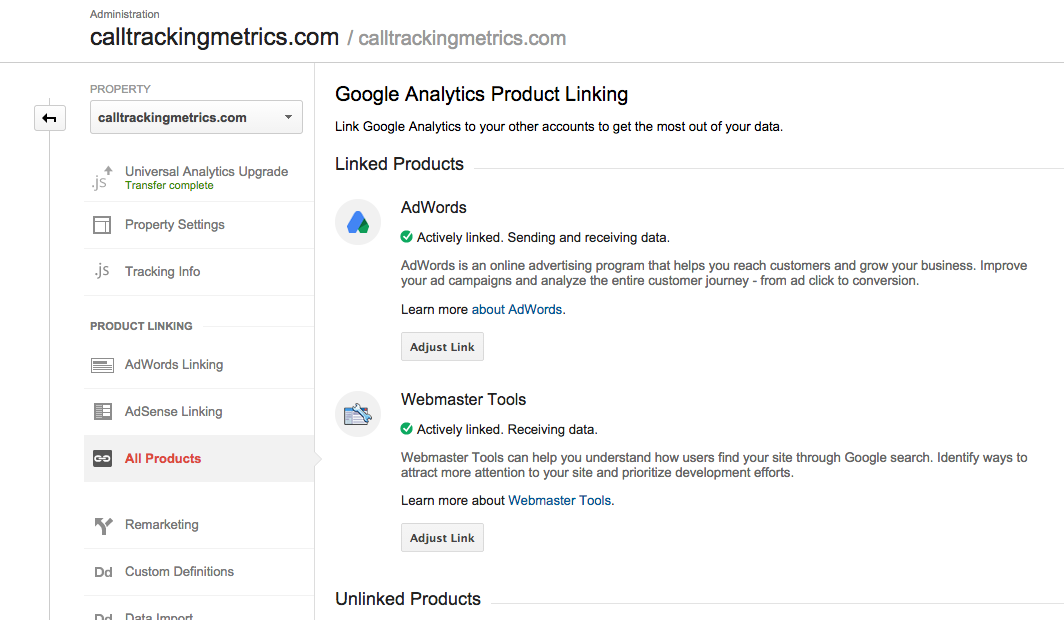 where to link your Analytics account up with Adwords and Webmasters