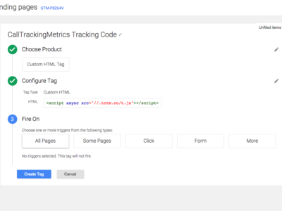 Using Google's Tag Manager to install CTM's Tracking Code