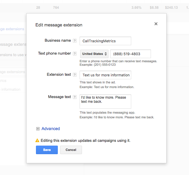Google AdWords click-to-message Ad Extension setup