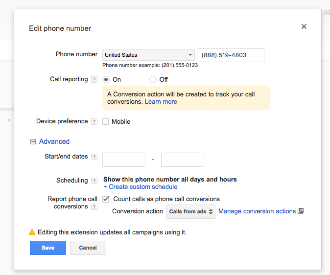 Image of how to setup call extension for conversion tracking in Google AdWords