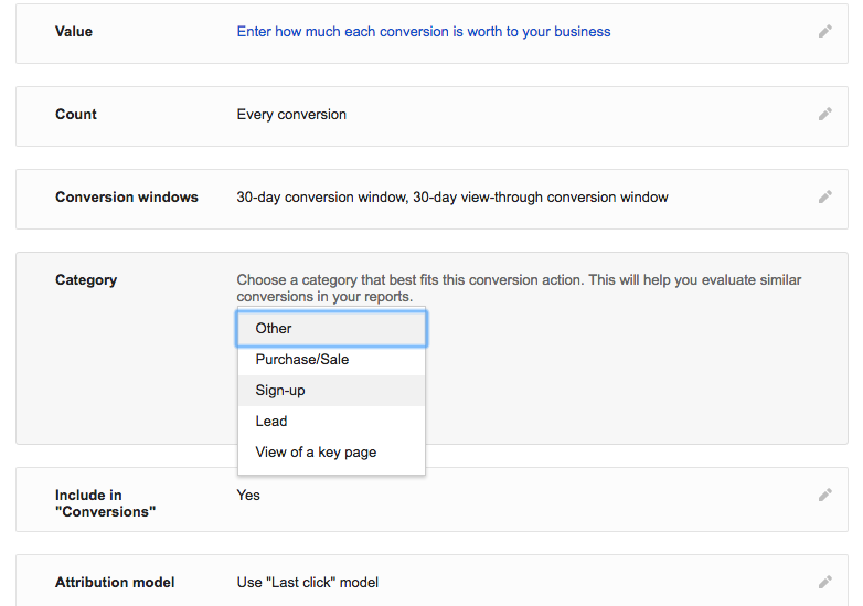 Image of how to setup a conversion in Google AdWords