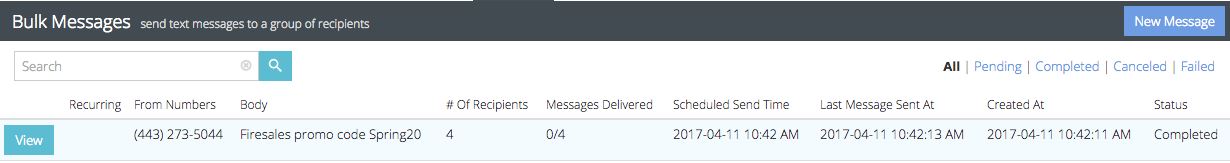 bulk text message log