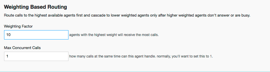 Agent Routing Rules: Weighting