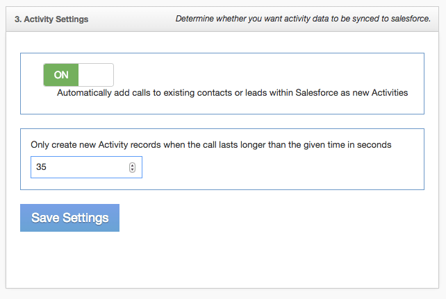 Activity settings