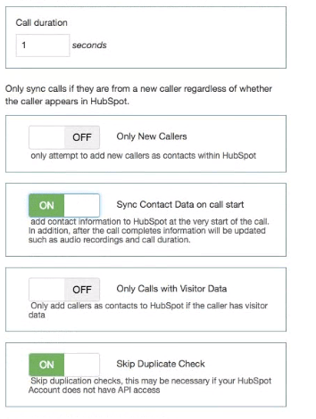 CTM Integration with HubSpot image of settings options