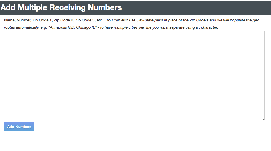 Add New Receiving Numbers