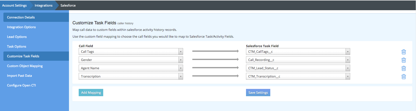 Mapping CallTrackingMetrics Call Data to Your Salesforce Custom Objects