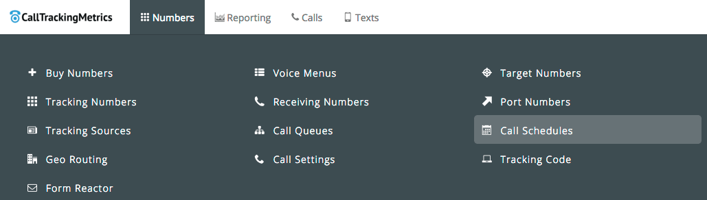 Numbers menu > Call Schedules