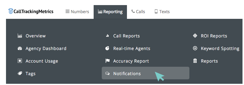 Reporting > Notifications