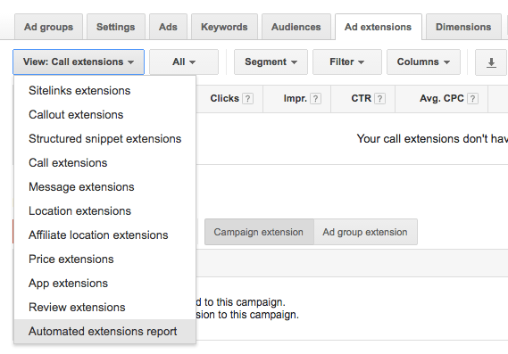 Ad extensions tab