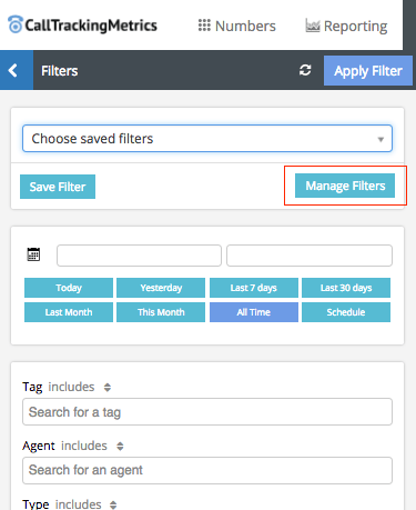 Select managed filters