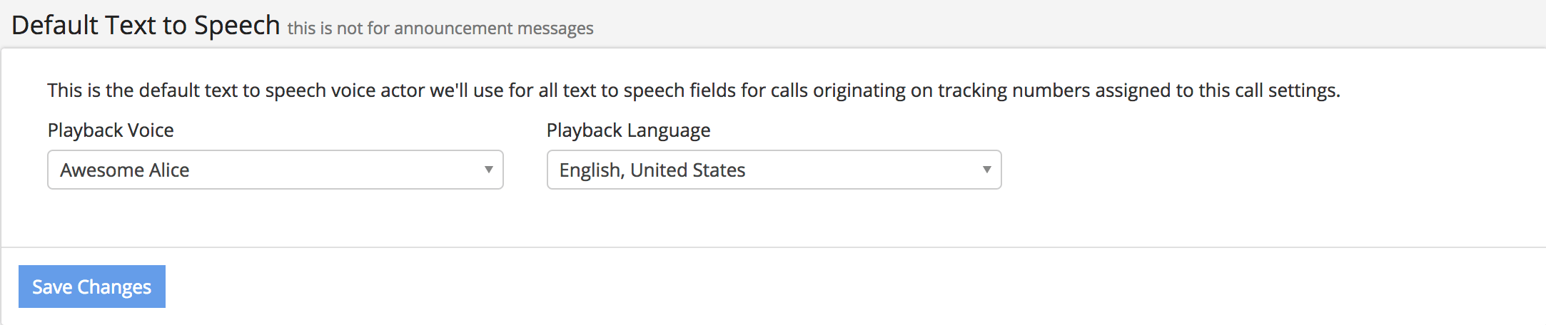 Set Default Text to Speech