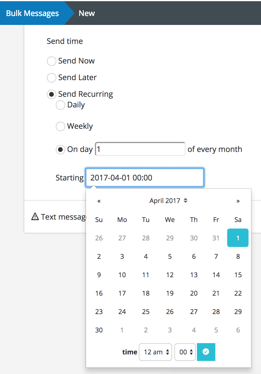 Schedule Bulk Message