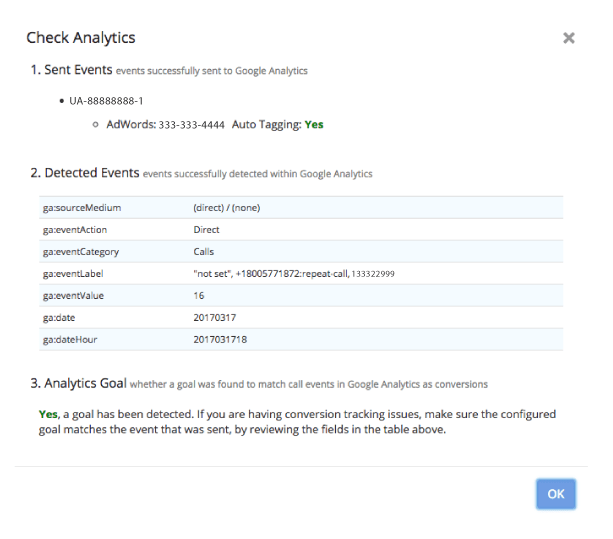 Select Check Analytics to see whether an Event has been created in Google Analytics