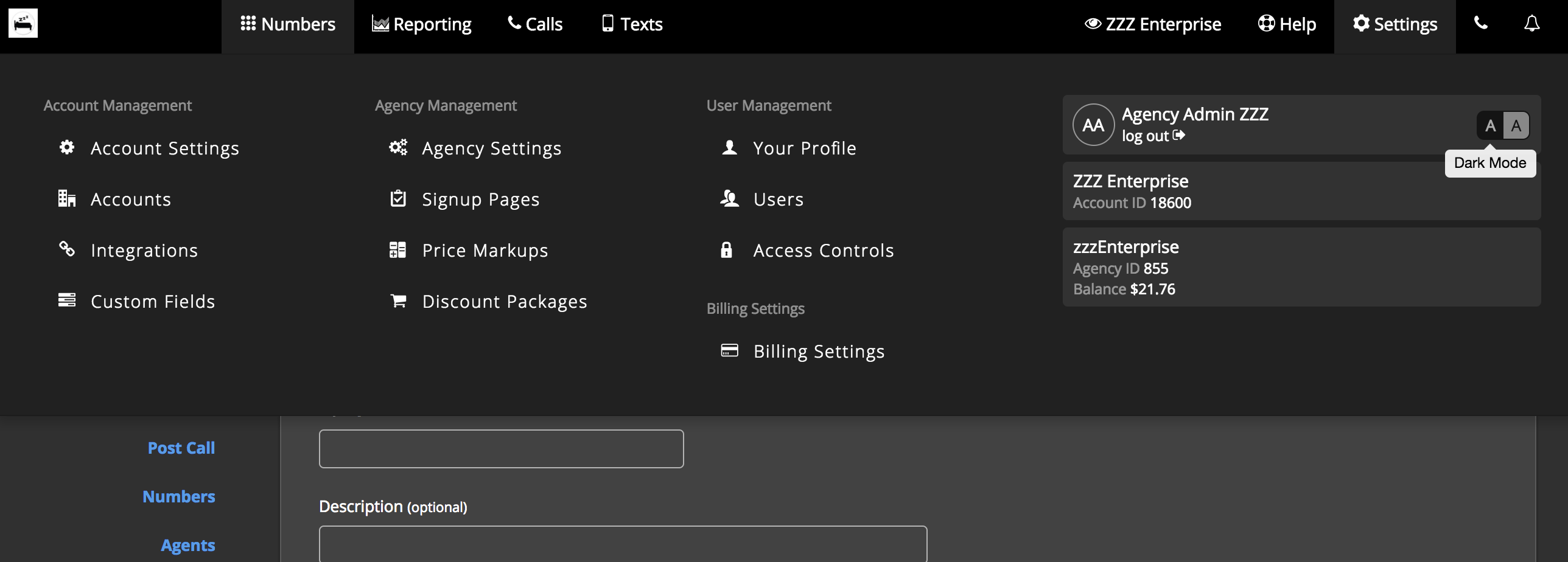 The Appearance section of the Agency Settings or Account Settings page