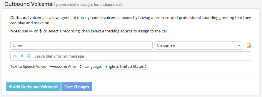 Configuring Outbound Voicemail