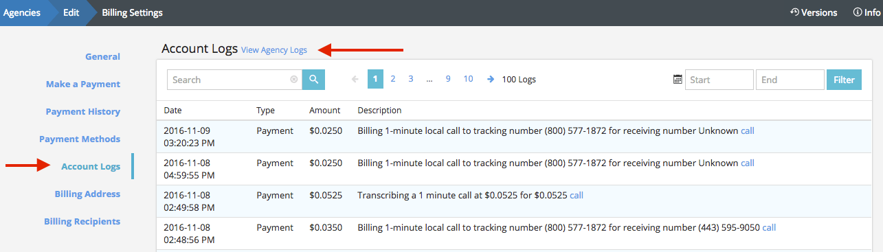 "Settings > Billing Settings > Account Log""></p> <p>For more of an overview, we recommend looking at the <a href="