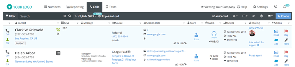 CallTrackingMetrics Call Log