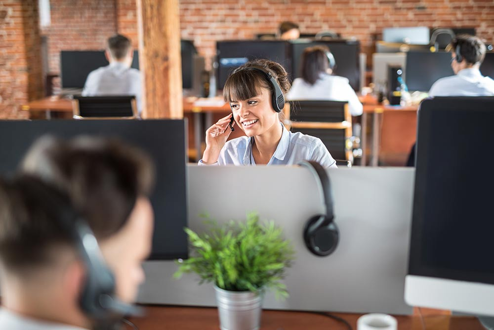 Agent answering calls at a call center