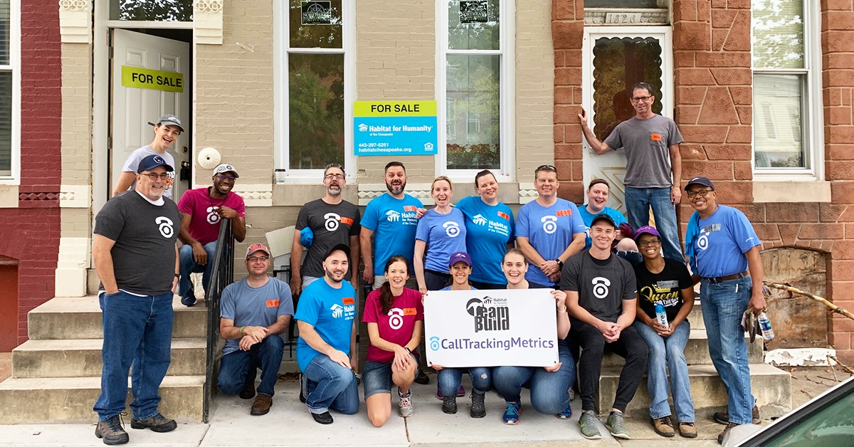 Group photo volunteering for Habitat for Humanity