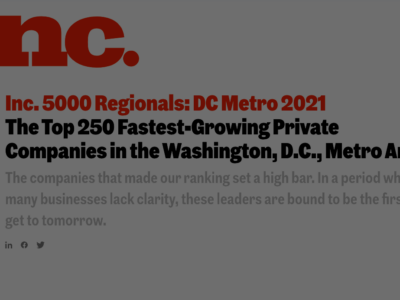 CallTrackingMetrics Ranks for Inc. Magazine's List of the Fastest-Growing Private Companies in the D.C. Metro Region
