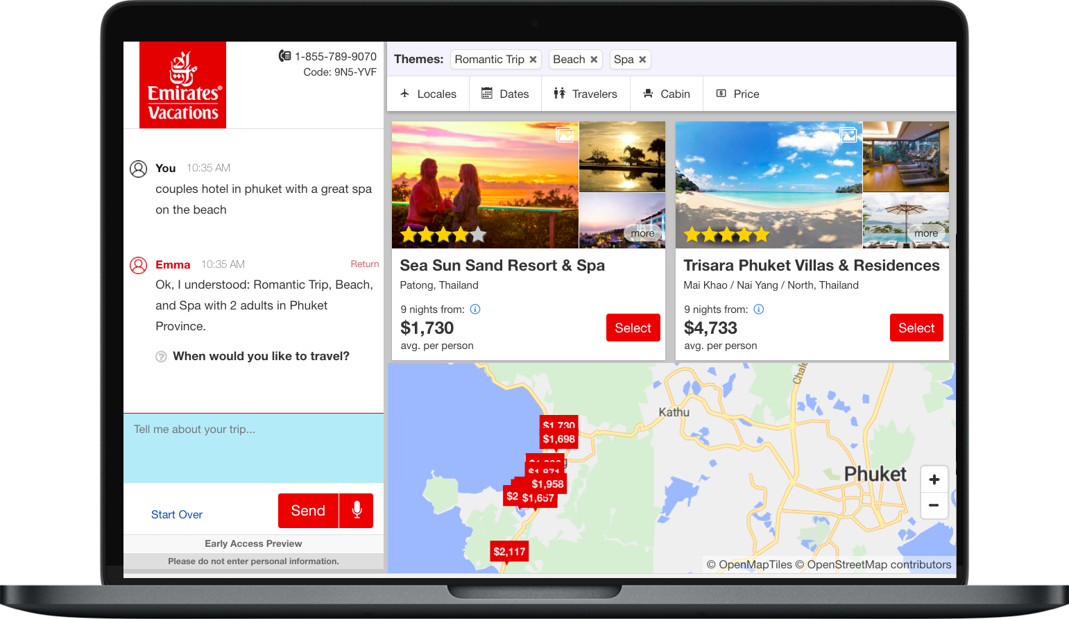 Emirates Vacations creates chat options on every page of their site to drive conversions